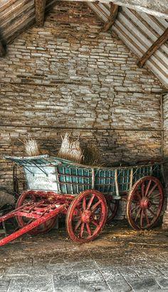 Stone barn and wagon. Stone barn and wagon. Country Barns, Country Life, Country Living, Country Charm, Old Wagons, Stone Barns, Farms Living, Down On The Farm, Old Farm