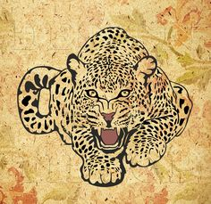 Multilayered image of a leopard, SVG, DXF, PNG, AI ,CDR, PDF, STUDIO print and cut files for tattoo design, t-shirt design, sticker, wall decor, scroll saw, car decal, embroidery pattern. Digital template/stencil files for use with Silhouette, Cricut and other Vinyl Cutters and printing machine.