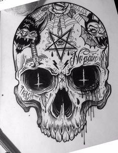 Sac Tutorial and Ideas Tattoo Design Drawings, Skull Tattoo Design, Skull Tattoos, Body Art Tattoos, Tattoo Designs, Key Tattoos, Foot Tattoos, Sleeve Tattoos, Tattoo Ideas