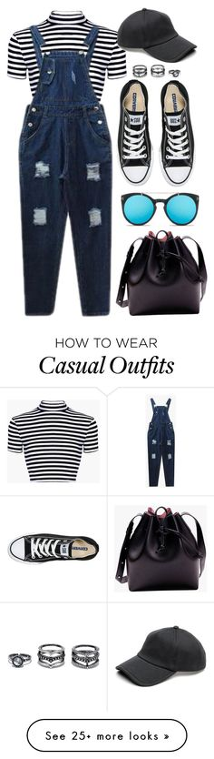 """Stripes & Overalls"" by genuine-people on Polyvore featuring rag & bone, Converse, Lulu*s, casual, stripes and overalls"