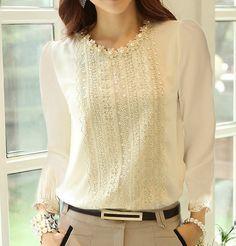 Nuevo 2015 ahueca hacia fuera primavera blusa encaje chifon perla mujer Tops camisa bordado flores talla grande S ~ XXL blusas femeninas