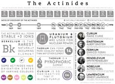 The Actinides - Many of these elements don't occur naturally, and are produced synthetically, with some of them existing only for a fraction of a second before they decay back into lighter elements.
