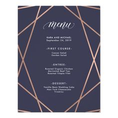 Minimalist Modern Faux Rose Gold Menu Card Customize these #navyblue #weddinginvitations Make your day special with these custom navy #wedding #invitations #cards and #stationary sets
