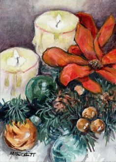 ACEO WONDERS2020 Original Painting Christmas Candles holiday Xmas flame ornament #Impressionism Snowman Christmas Decorations, Christmas Candles, Xmas Ornaments, Painting Snow, Watercolor Paintings, Original Paintings, Christmas Tree Painting, Cat Flowers, Artist Trading Cards