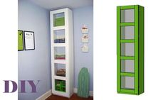 Make a very tall and extra room storage tower complete with modern style doors! These DIY plans will add lots of storage to your space. Can be made with glass doors too! Full free plans you can follow to make your own.  Use as a closet or closet divider by adding closet rods to the outside for a chic wardrobe