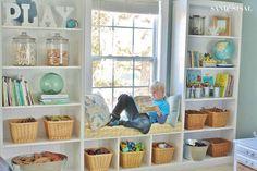 DIY Playroom Built-in Bookshelves + Window Seat