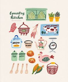 Some of my favorite country kitchen accessories 💕 Illustration Inspiration, Cute Illustration, Good Notes, Illustrations And Posters, Cute Stickers, Planner Stickers, Cute Art, Illustrators, Art Drawings