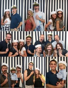 Photo booth idea for my sons Graduation/US NAVY Going Away Party. Would use the sailor hats not the captains hat.