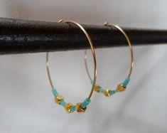 Boucles d'oreilles créoles plaqué or et perles