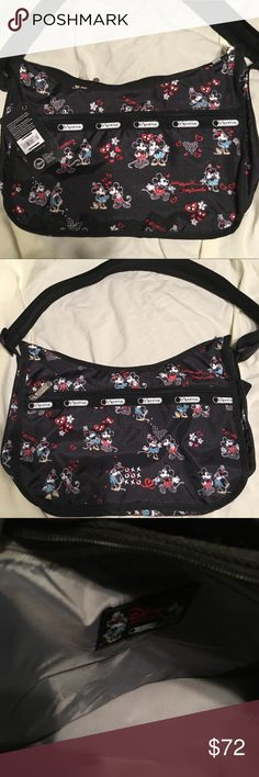 NWT LeSportSac Disney bag NWT LeSportSac Disney bag. Mickey and Minnie mouse adorn this adorable bag. Measurements are pictured. Lesportsac Bags Shoulder Bags