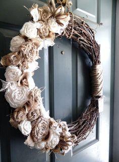 Burlap Grapevine Wreath - Burlap Roses, Pearls, and Ivory Lace - Rustic Wedding Decoration Wedding Wreath Alter Wreath via Etsy