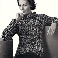 Big Needle Knitted Sweater Pattern, Warm and Bulky.   This sweater, knitted on large needles (Size 10 and 13) in dark and light complimentary colors, is made quickly and easily. It has a high turtleneck, long sleeves and is below hip length. Just about everything you might want in a winter sweater to accompany your jeans !