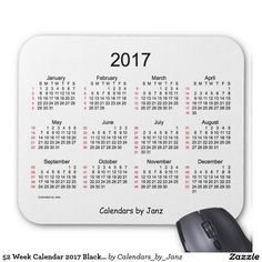 52 Week Calendar 2017 Black and White Mouse Pad