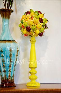 fruit topiary using mini fake fruit, Styrofoam ball, toothpicks and some filler flowers