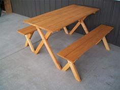 Constructed with yellow pine wood by the Pennsylvania Amish, this picnic table with be a dur able and affordable! The cross leg design and rich cedar stain finish give this picnic table with 2 detached benches a rustic and charming appeal. Outdoor Picnic Tables, Outdoor Table Settings, Outdoor Dining Set, Outdoor Living, Patio Table, Outdoor Lounge, Outdoor Wood Furniture, Pine Furniture, Amish Furniture
