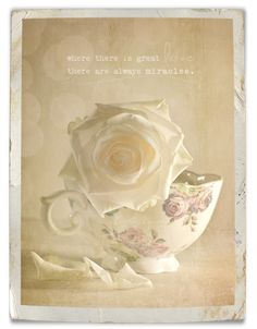 Two of my favorite things; roses and old teacups.
