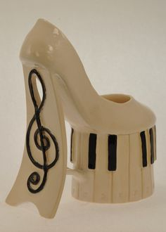 Musical Shoes (View 2) Ceramic art by Kathy Hintz