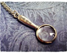 Silver Magnifying Glass Necklace - Antique Pewter Magnifying Glass Charm on a Delicate 18 Inch Silver Plated Cable Chain
