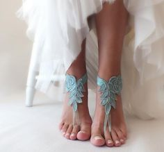 Barefoot sandals for beach wedding. Bridal accessory, Beach wedding photo shoots, Custom photo shoots, Gift for Bridesmaids, Anniversary, Birthday gift. Designed with high quality French lace. It is completely handmade. • Handmade • First quality France lace • Elastic Tape • Product is for 1