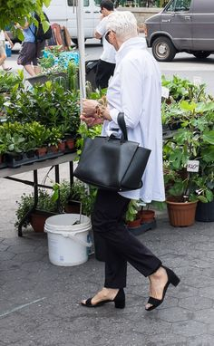 great white shirt - cigar trousers - low heeled sandles | Street Style - Silver Hair