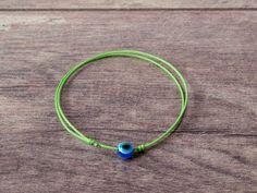 Blue Evil Eye Green String Bracelet. Wish Good Luck. Amulet, Talisman Women Men #Handmade #Friendship