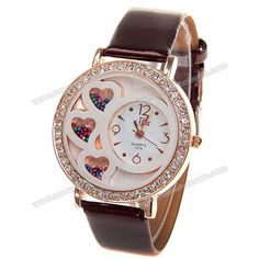 Wholesale Women's Watch with Rhinestone Decoration Quartz Analog Dial Leather Watchband (Brown) (BROWN), Women's Watches - Rosewholesale.com