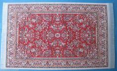 Puppenstuben Teppich rot  23,5 x 15,5 cm  Puppenhaus Möbel Miniatur 1:12