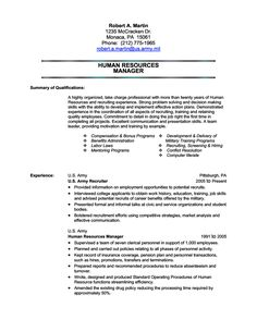 human resources military transition resume sample - Sample Military Resume