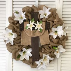 Easter Wreath, Religious Easter Wreath, Cross Wreath for Easter, Spring Wreath