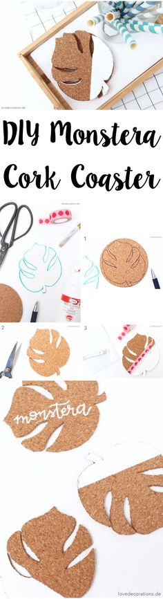 DIY Monstera Kork Untersetzer | DIY Monstera Cork Coaster Diy Crafts To Do At Home, Fun Crafts For Teens, Diy Gifts For Kids, Easy Diy Room Decor, Home Decor, Love Decorations, Cork Coasters, Cork Crafts, Cool Diy Projects