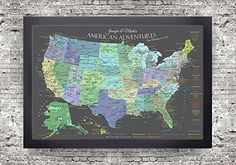 Rainbow world map framed pin board map geojango maps world usa national parks map slate edition framed push pin map beautiful and informative the american adventures usa map slate edition is the most detailed gumiabroncs Choice Image