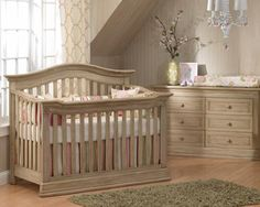 Baby Caché - Montana - Very pretty finish on this solid wood crib.  Gender neutral, too.  Would look nice with a rustic theme