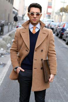 Love the Orange Tie with the Navy Sweater