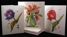Tulip Original Watercolor PRINT Note Card Set by McKinneyx2Designs