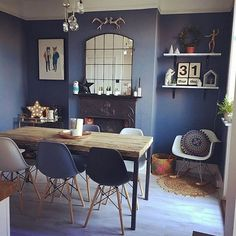 Thanks for sharing Kate Rose! We LOVE your dining . Thanks for sharing Kate Rose! We LOVE your dining room. Dining Room Paint Colors, Dining Room Wall Decor, Dining Room Design, Room Decor, Wall Colors, Scandi Dining Table, Kitchen Dining, Dark Blue Dining Room, Muebles Living