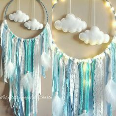 ATTRAPE REVE Glowing clouds: decoration for children by the-little-clouds-of . Dream Catcher Mobile, Dream Catcher Craft, Dream Catcher Boho, Dream Catchers, Mobiles En Crochet, Crochet Mobile, Baby Crafts, Diy And Crafts, Nursery Crafts