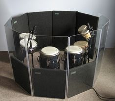 Isolate your electronic drums and drum kits by forming a solid percussion enclosure using our high quality acrylic drum isolation shield panels. Drums Studio, Home Studio Music, Drum Cage, Drum Tuning, Diy Drums, Percussion Drums, Kitchen Bar Design, Drum Room, Outdoor Kitchen Bars