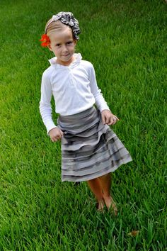 Bias ruffle skirt. So cute, and she looks just like my niece...I'd better call my sister-in-law.