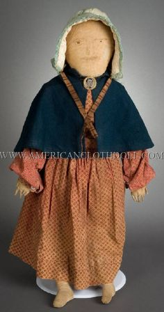 """26"""" New England Ink Face Doll with a mixture of original and added clothing, all appropriate to the doll. Pencil facial and hair features with wonderful appearance."""