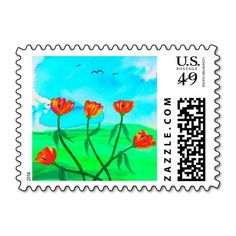 Beautiful Poppies Postage Stamp