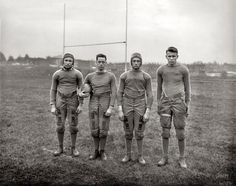 I didn't know this.  Members of the 1920 Gallaudet University football team. The first college for the deaf is credited with inventing the football huddle to keep the opposing team from seeing them calling the plays in sign language.