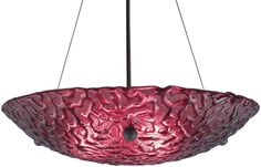 is a Large Bowl Pendant Light Fixture in the Bronze Finish With Red Phantom Glass. This light fixture is from the Bowl 30