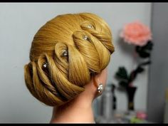 Hairstyle for medium hair. Wedding updo - YouTube