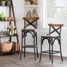 kosas home dixon rustic brown and black reclaimed pine and iron counter stool overstock