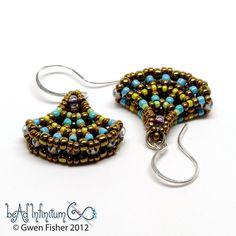 #beadwork  Ginko Leaf Beaded Earrings Bronze Aqua Sterling by gwenbeads,