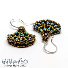 #beadwork  Ginko Leaf Beaded Earrings Bronze Aqua Sterling by gwenbeads,