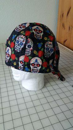 bdd042693e0 Welders Hat Cap Doo Rag Sugar Skulls Flowers Muertos 7 1 2 Calaveras Biker
