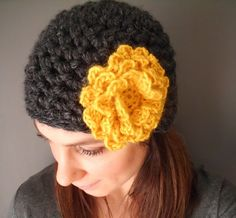 Crochet hat with flower from etsy