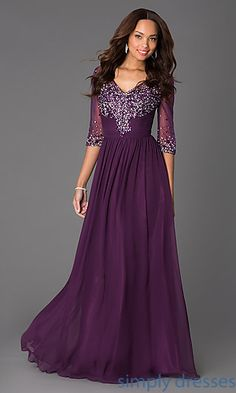 Shop floor-length long sleeve dresses and mother-of-the-bride dresses at Simply Dresses. Beaded sheer-illusion long winter formal dresses for galas.