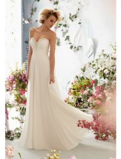 A Line Sweetheart Chiffon and Beading Destination Wedding Dress